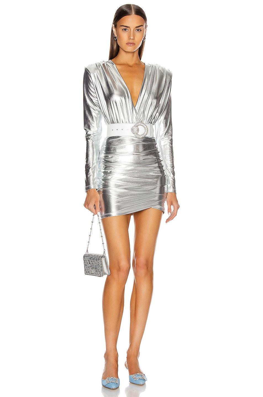 Image 1 of ANDAMANE Colette Mini Dress in Silver Metallic