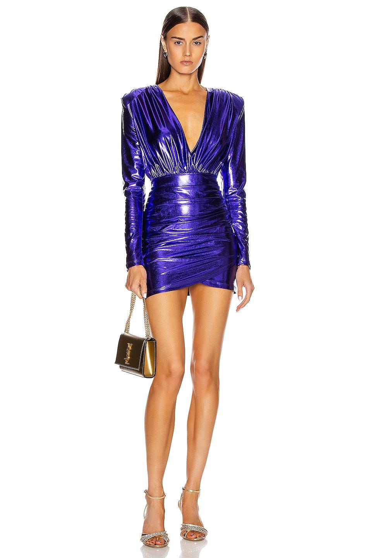 Image 1 of ANDAMANE Colette Mini Dress in Purple Metallic