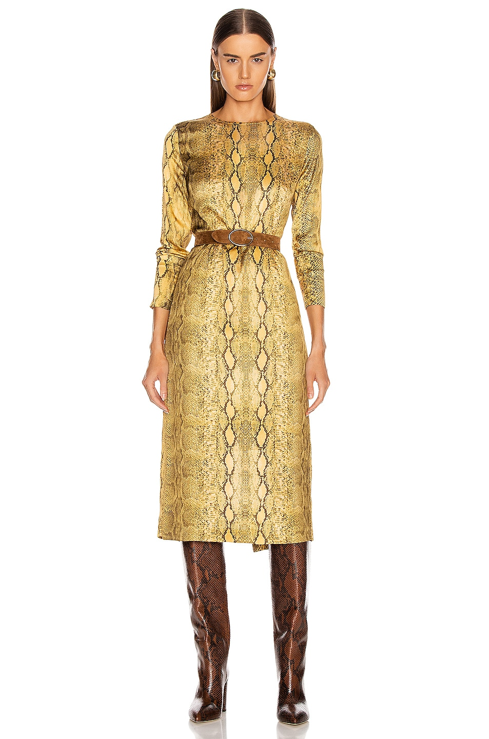 Image 1 of ANDAMANE Beulah Midi Dress in Yellow Snake