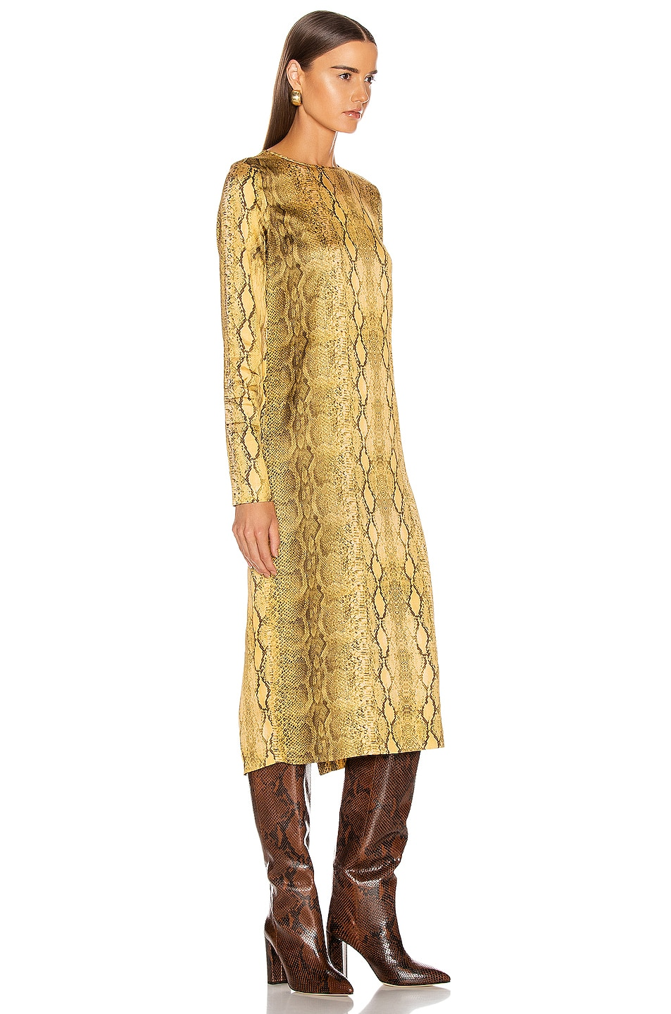 Image 2 of ANDAMANE Beulah Midi Dress in Yellow Snake