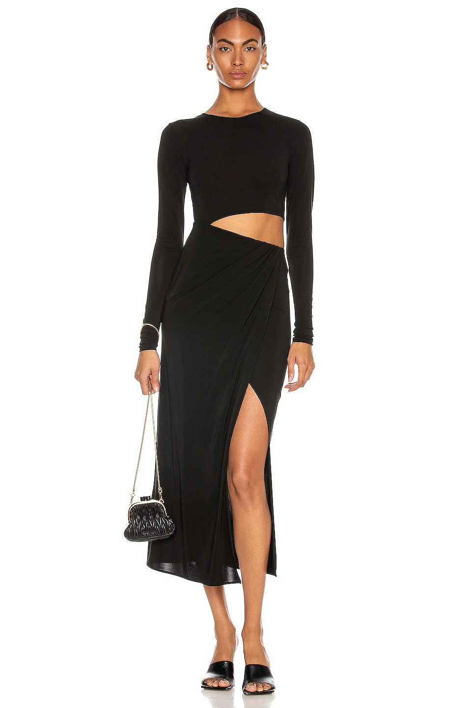 Image 1 of ANDAMANE Gia Cut Out Midi Dress in Black