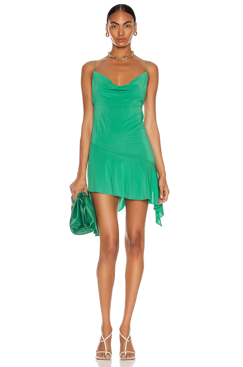 Image 1 of ANDAMANE Gemma Draped Mini Dress in Emerald