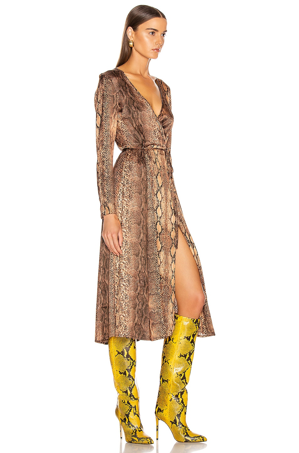 Image 2 of ANDAMANE Beverly Wrap Dress in Brown Snake