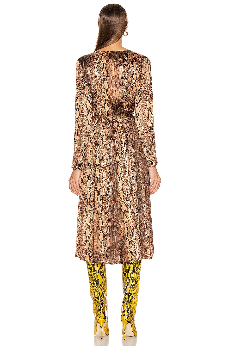 Image 3 of ANDAMANE Beverly Wrap Dress in Brown Snake