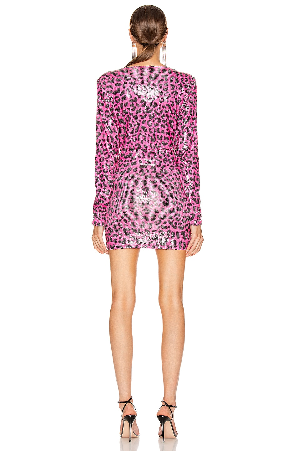 Image 3 of ANDAMANE Colette Sequins Gathered Mini Dress in Leo Fuchsia