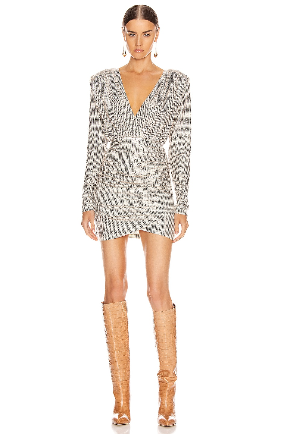 Image 1 of ANDAMANE Colette Sequins Gathered Mini Dress in Beige & Metal