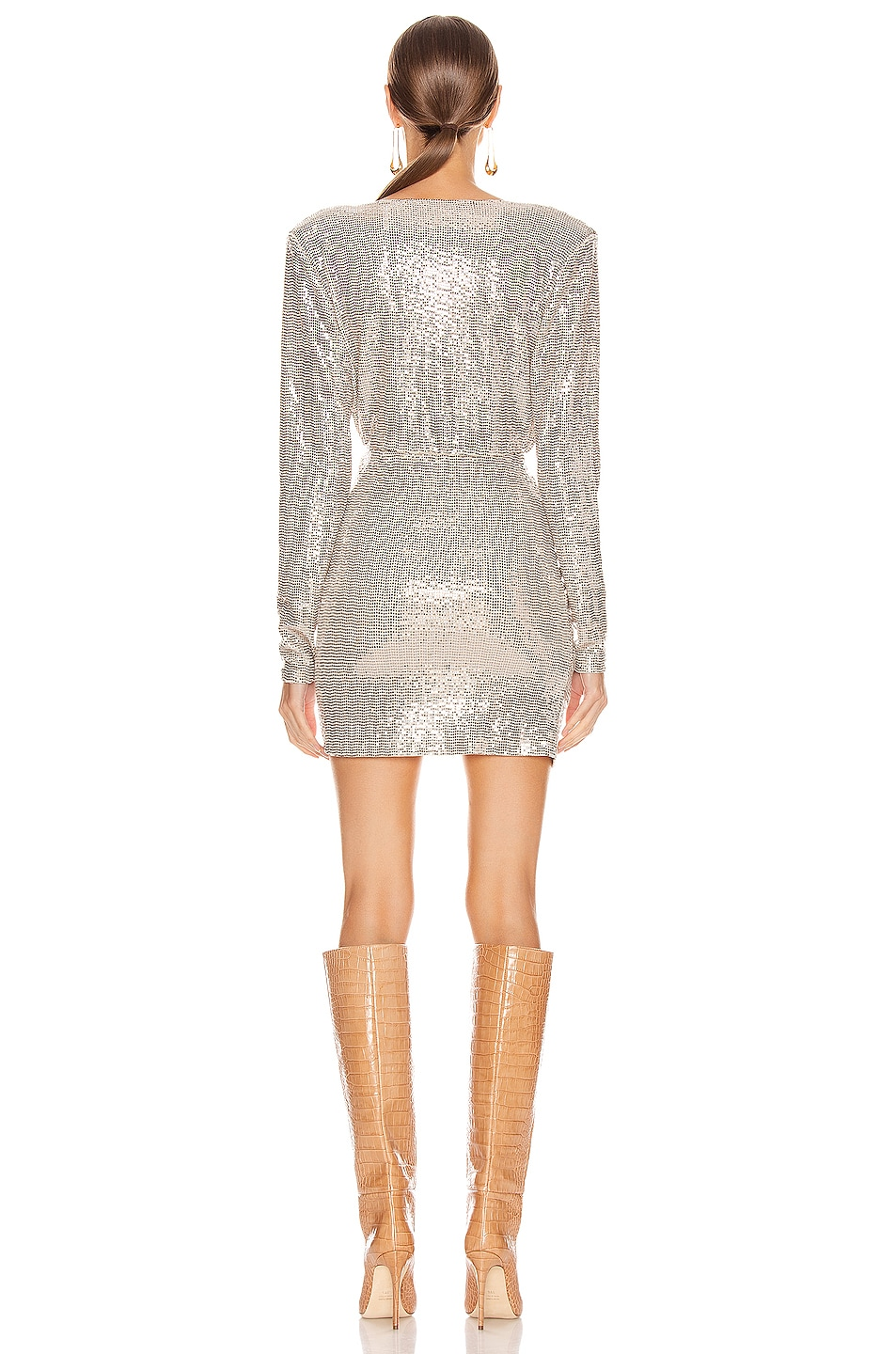Image 3 of ANDAMANE Colette Sequins Gathered Mini Dress in Beige & Metal