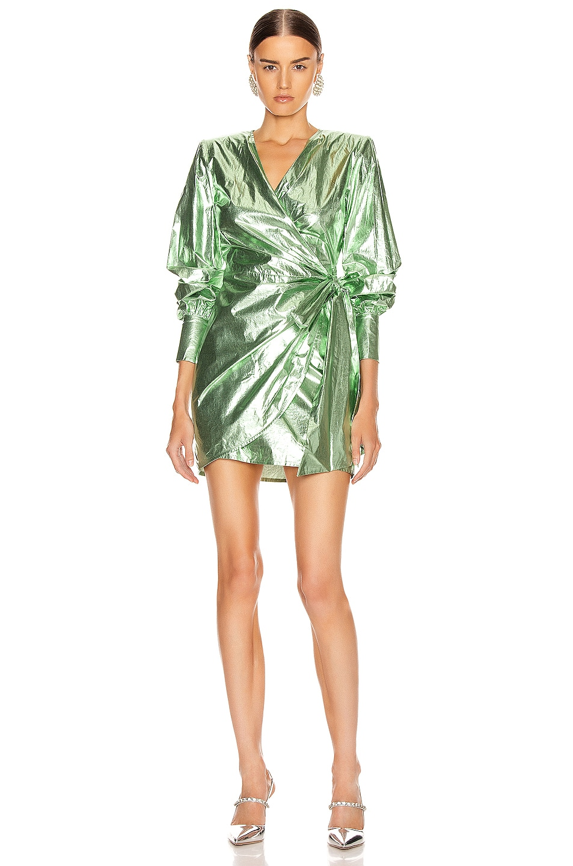 Image 1 of ANDAMANE Carly Metal Wrap Mini Dress in Green