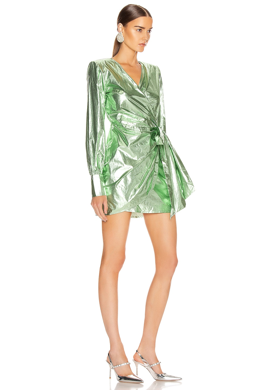 Image 2 of ANDAMANE Carly Metal Wrap Mini Dress in Green