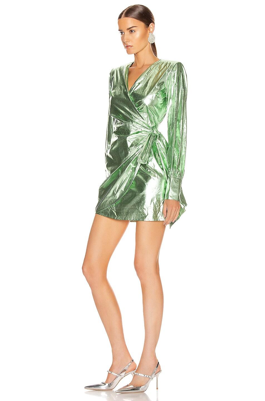 Image 3 of ANDAMANE Carly Metal Wrap Mini Dress in Green