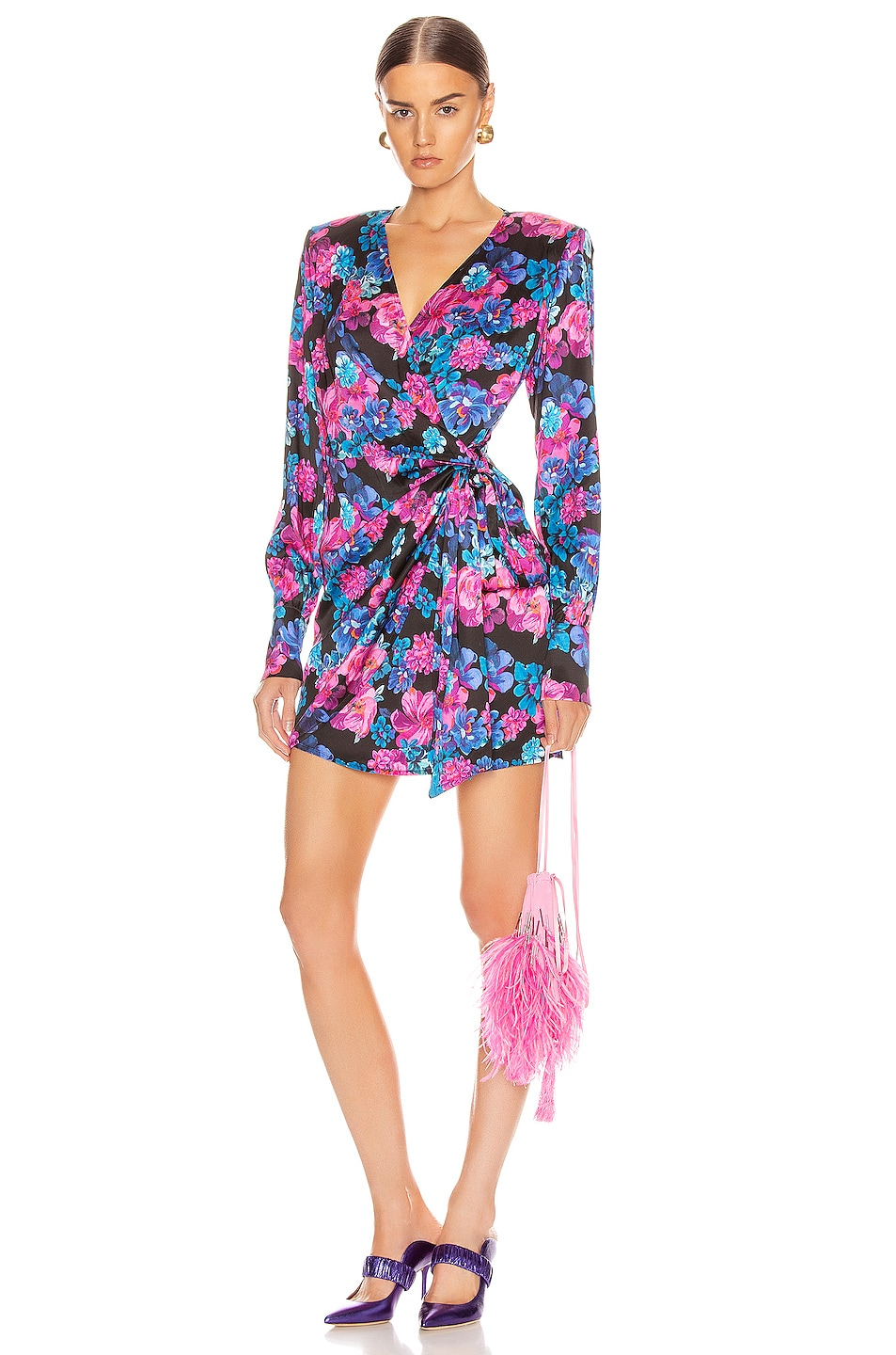 Image 1 of ANDAMANE Carly Wrap Mini Dress in Floral Multi Black