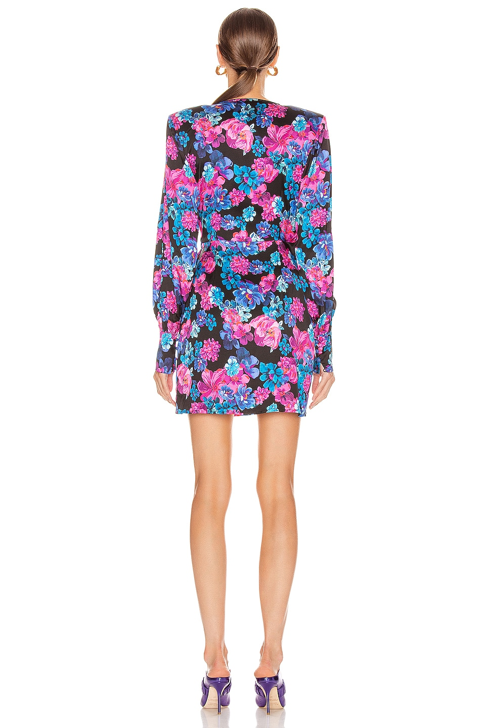 Image 4 of ANDAMANE Carly Wrap Mini Dress in Floral Multi Black