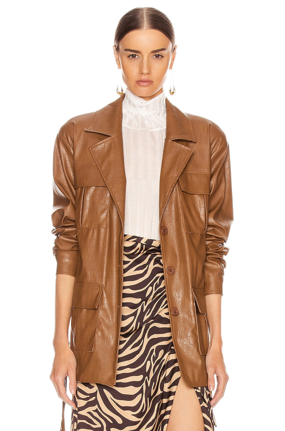 Image 1 of ANDAMANE Carine Faux Leather Croco Print Jacket in Brown