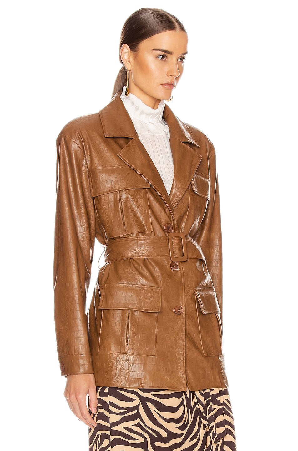 Image 3 of ANDAMANE Carine Faux Leather Croco Print Jacket in Brown
