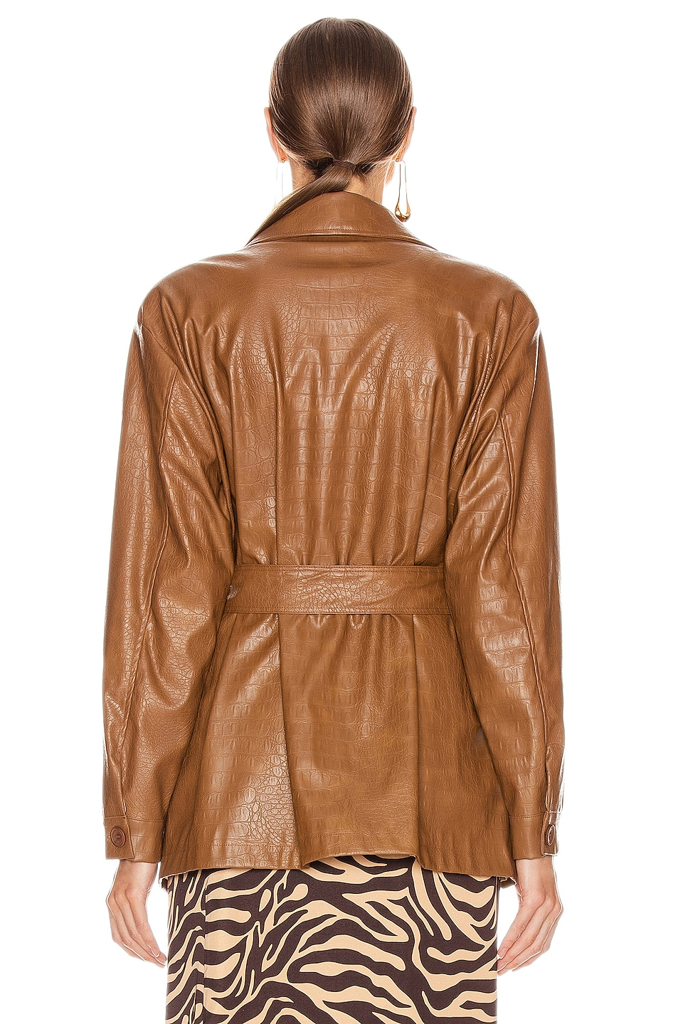 Image 4 of ANDAMANE Carine Faux Leather Croco Print Jacket in Brown