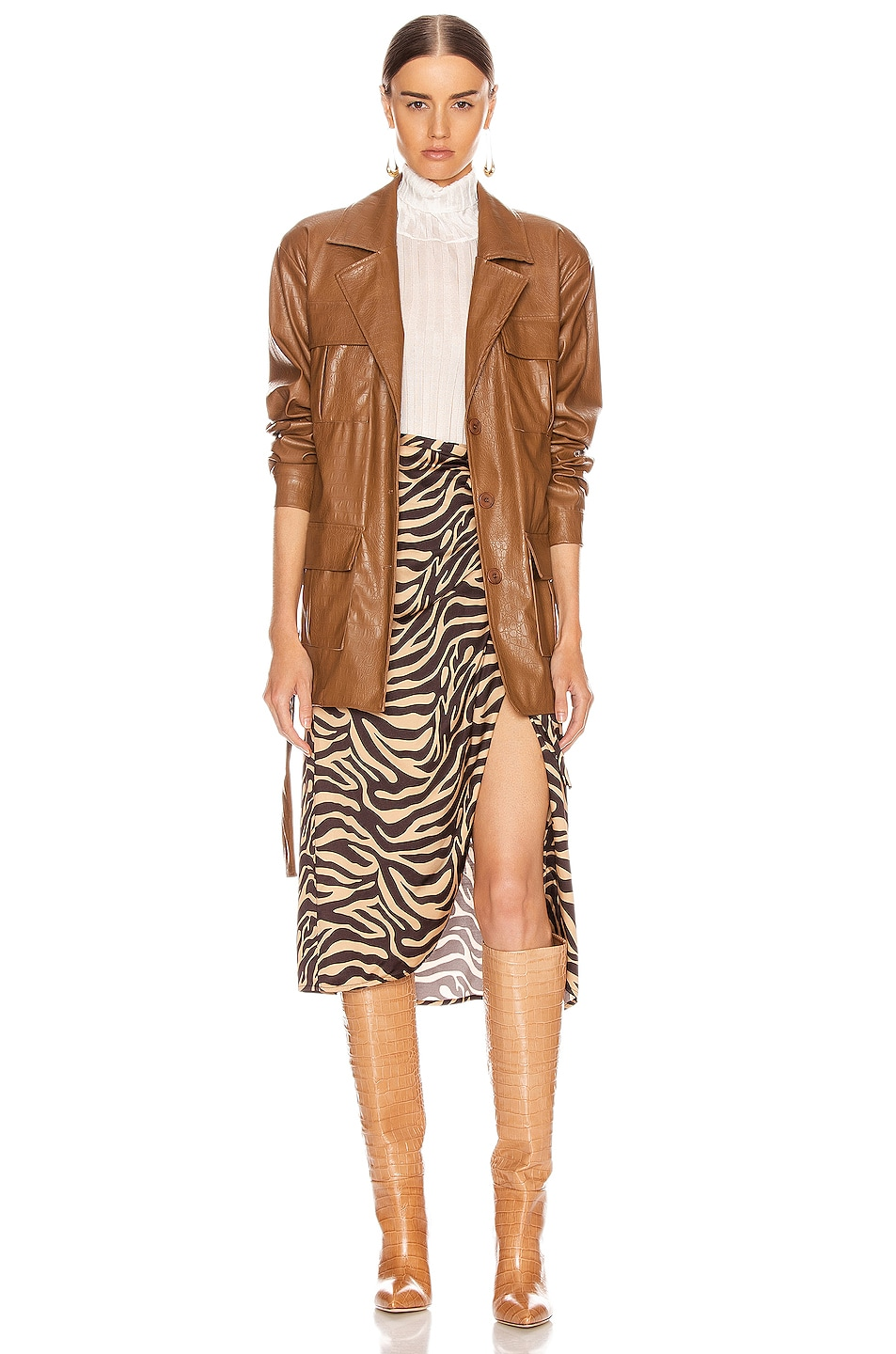 Image 5 of ANDAMANE Carine Faux Leather Croco Print Jacket in Brown