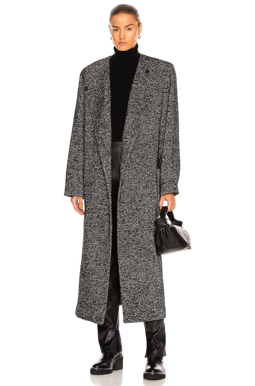 Image 1 of ANDAMANE Hailey Maxi Coat in Black & White