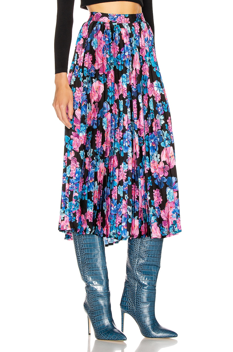 Image 2 of ANDAMANE Becky Pleated Midi Skirt in Floral Multi Black
