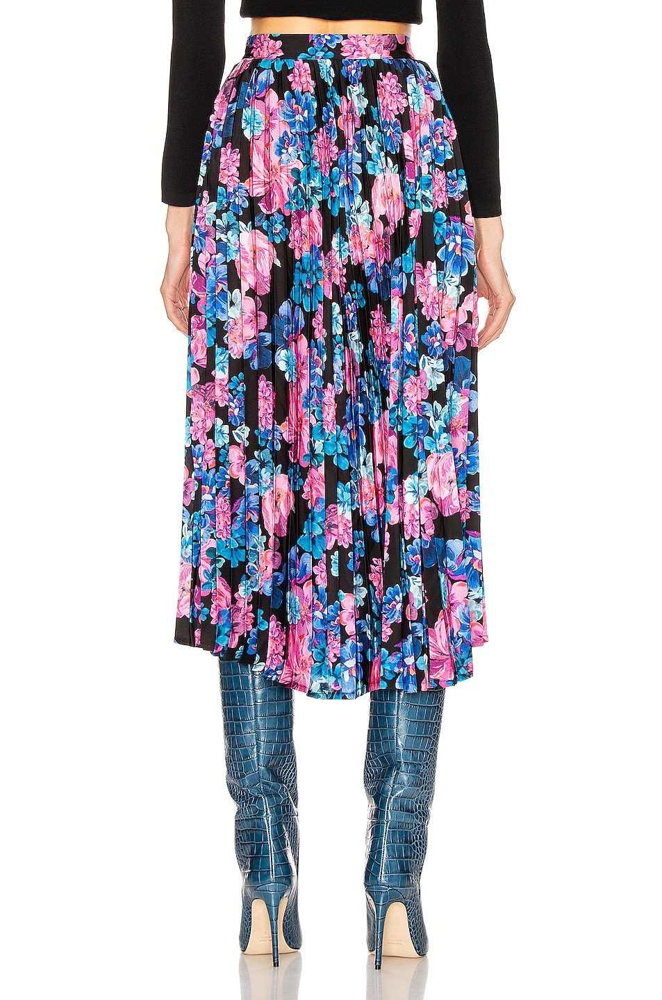 Image 3 of ANDAMANE Becky Pleated Midi Skirt in Floral Multi Black