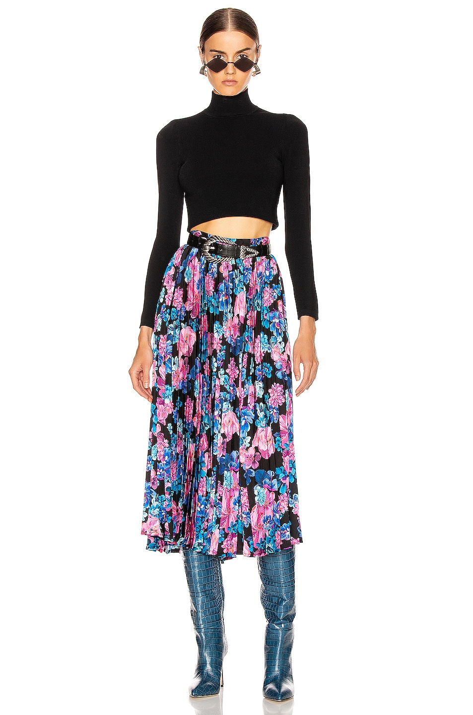 Image 4 of ANDAMANE Becky Pleated Midi Skirt in Floral Multi Black