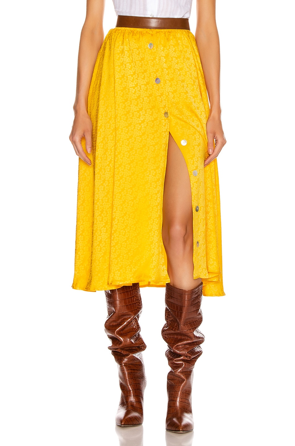 Image 1 of ANDAMANE Diletta Midi Skirt in Floral Yellow