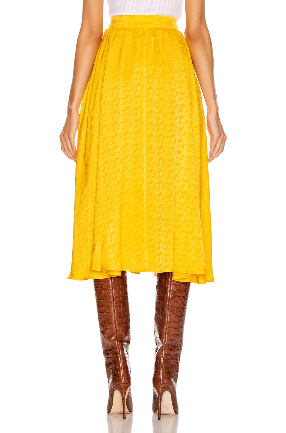 Image 3 of ANDAMANE Diletta Midi Skirt in Floral Yellow