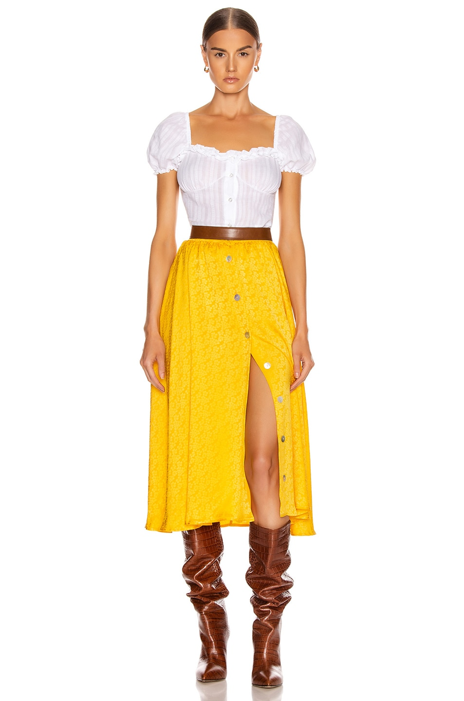 Image 4 of ANDAMANE Diletta Midi Skirt in Floral Yellow
