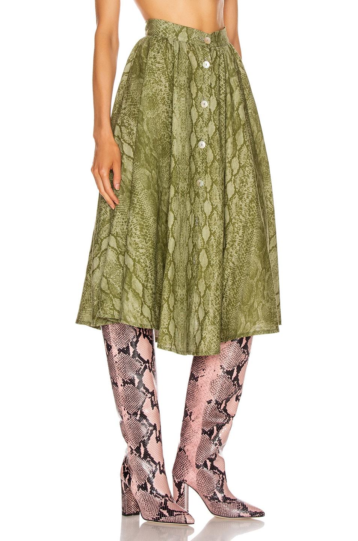 Image 2 of ANDAMANE Diletta Midi Skirt in Snake Sage