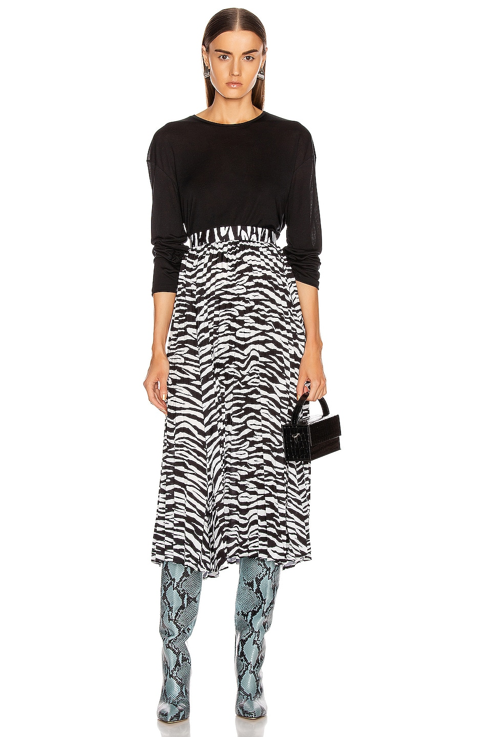 Image 4 of ANDAMANE Becky Midi Skirt in Zebra