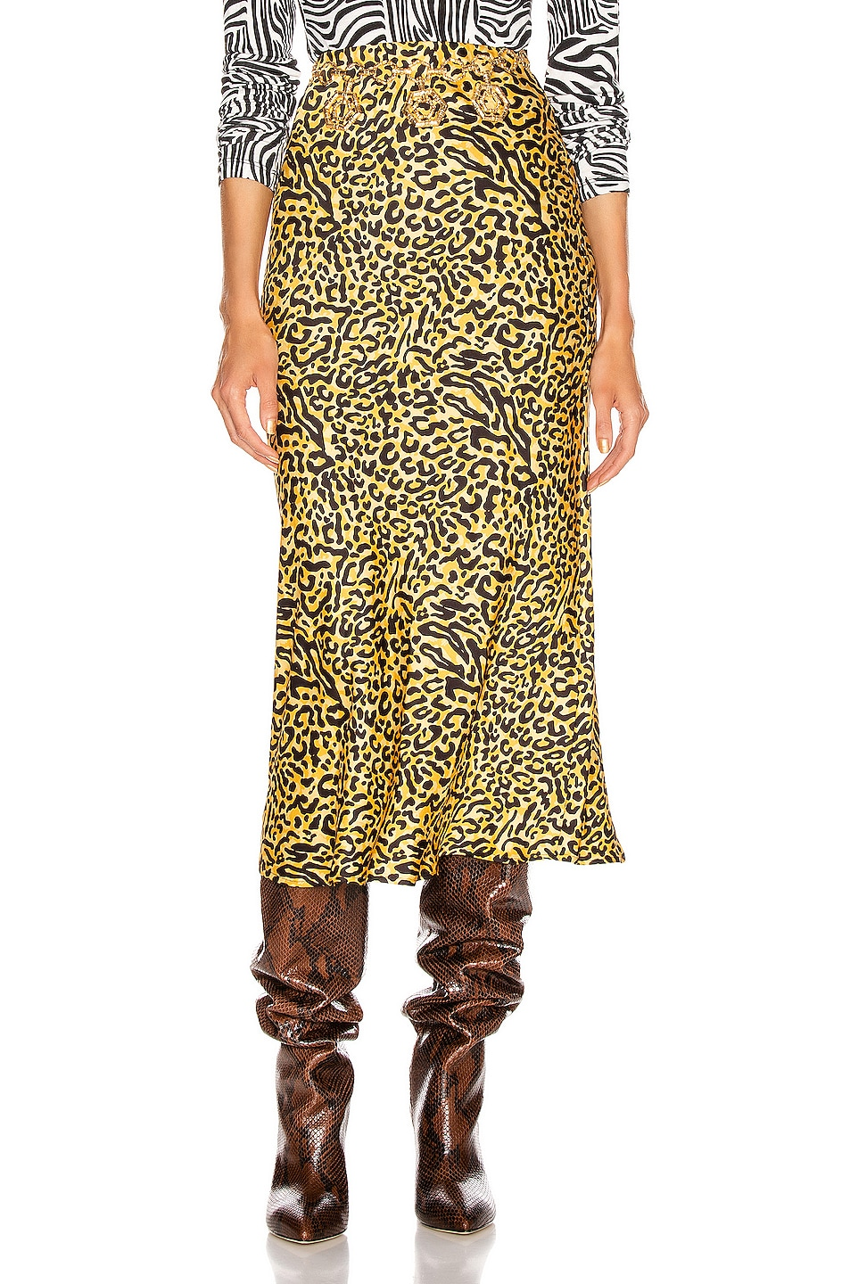 Image 1 of ANDAMANE Bella Midi Skirt in Yellow Leopard