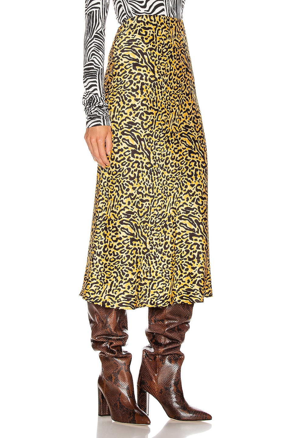 Image 2 of ANDAMANE Bella Midi Skirt in Yellow Leopard