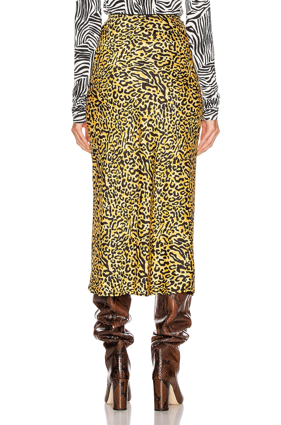 Image 3 of ANDAMANE Bella Midi Skirt in Yellow Leopard