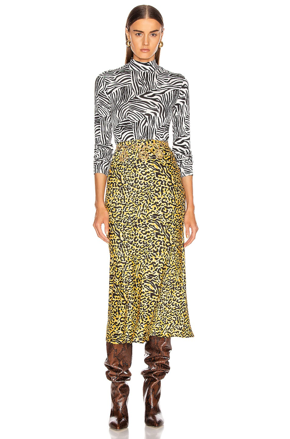 Image 4 of ANDAMANE Bella Midi Skirt in Yellow Leopard