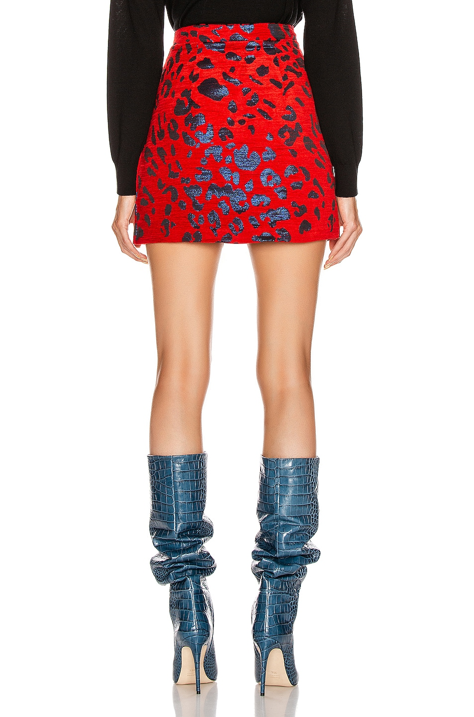 Image 3 of ANDAMANE Bertha Mini Skirt in Red & Blue Leopard