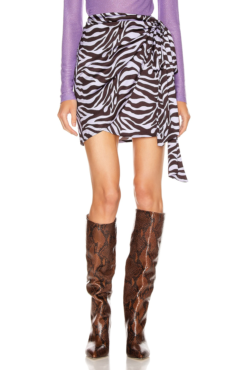 Image 1 of ANDAMANE Camilla Wrap Mini Skirt in Zebra Lilac