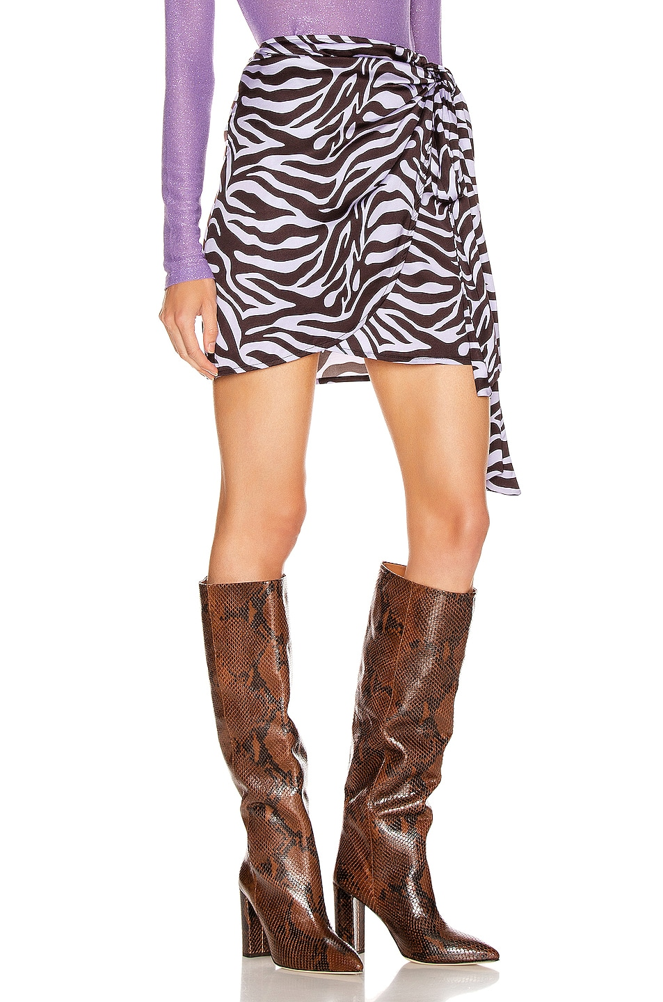 Image 2 of ANDAMANE Camilla Wrap Mini Skirt in Zebra Lilac