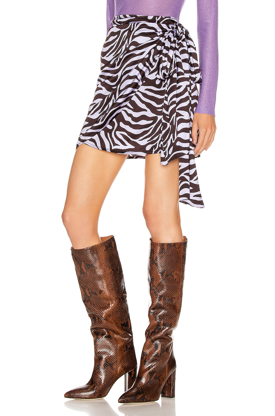 Image 3 of ANDAMANE Camilla Wrap Mini Skirt in Zebra Lilac
