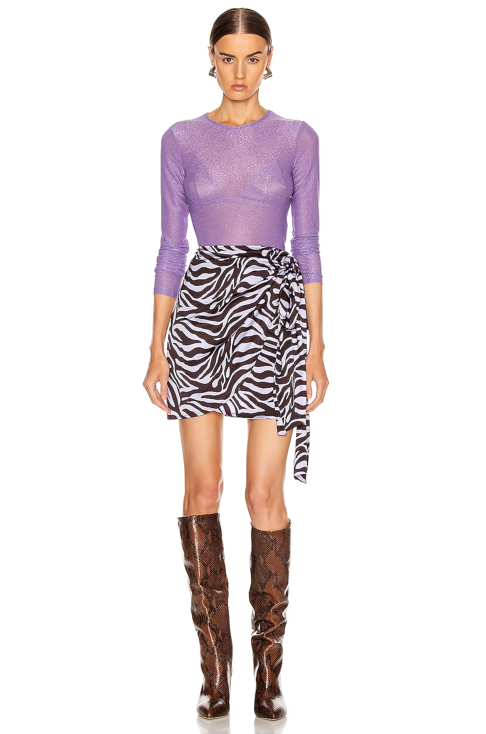 Image 5 of ANDAMANE Camilla Wrap Mini Skirt in Zebra Lilac