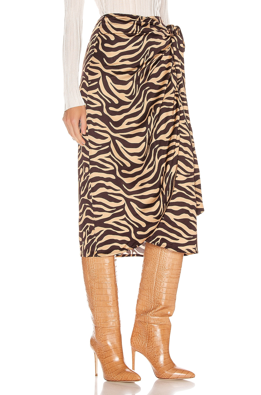 Image 2 of ANDAMANE Camilla Wrap Midi Skirt in Zebra Sand