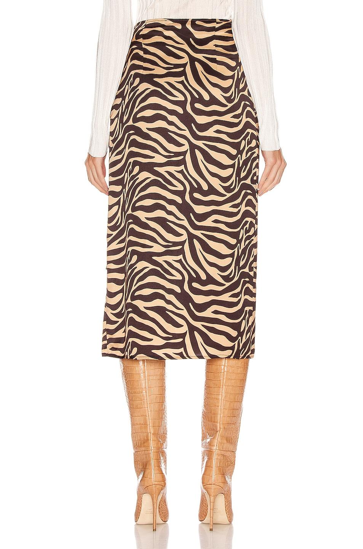 Image 4 of ANDAMANE Camilla Wrap Midi Skirt in Zebra Sand
