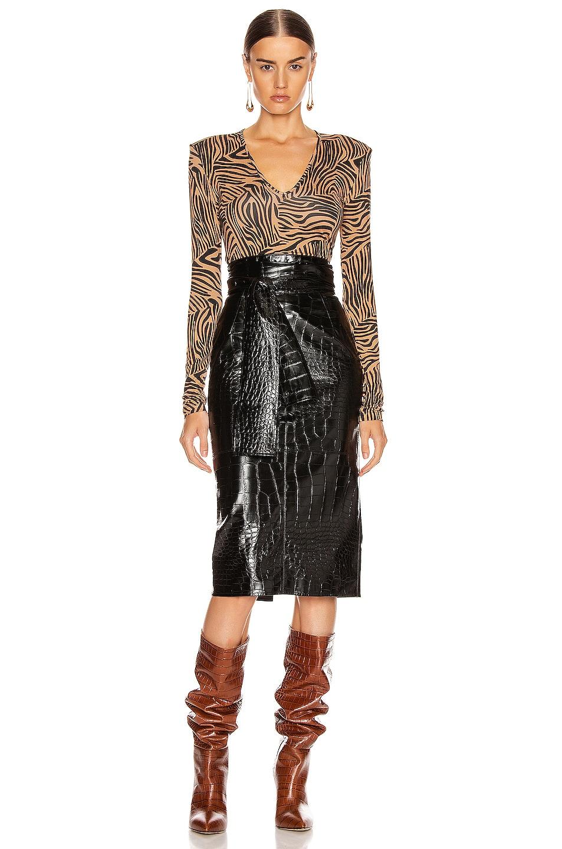 Image 5 of ANDAMANE Carmel Bodysuit in Zebra Sand
