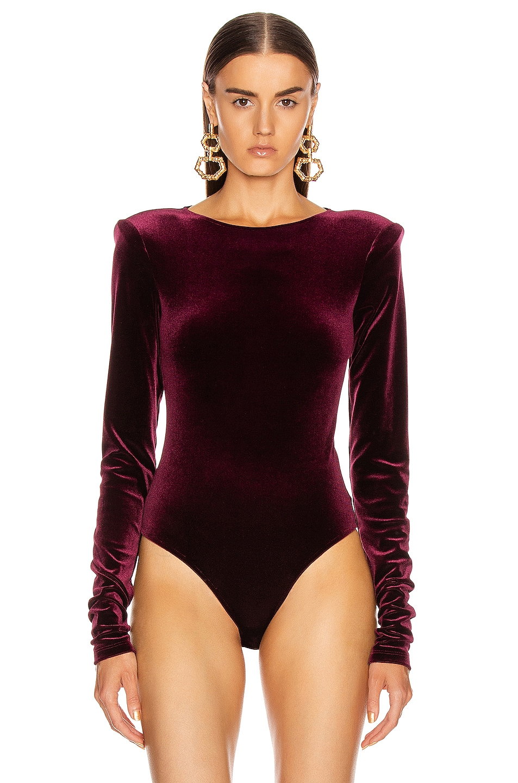 Image 2 of ANDAMANE Bea Velvet Bodysuit in Bordeaux
