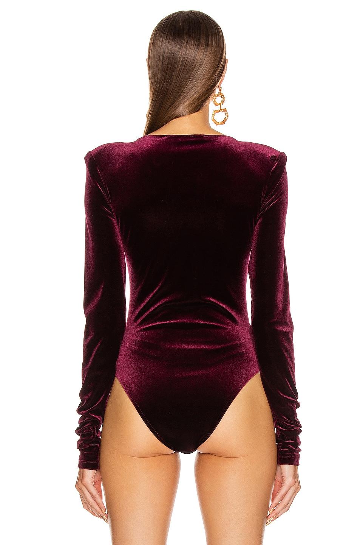 Image 4 of ANDAMANE Bea Velvet Bodysuit in Bordeaux