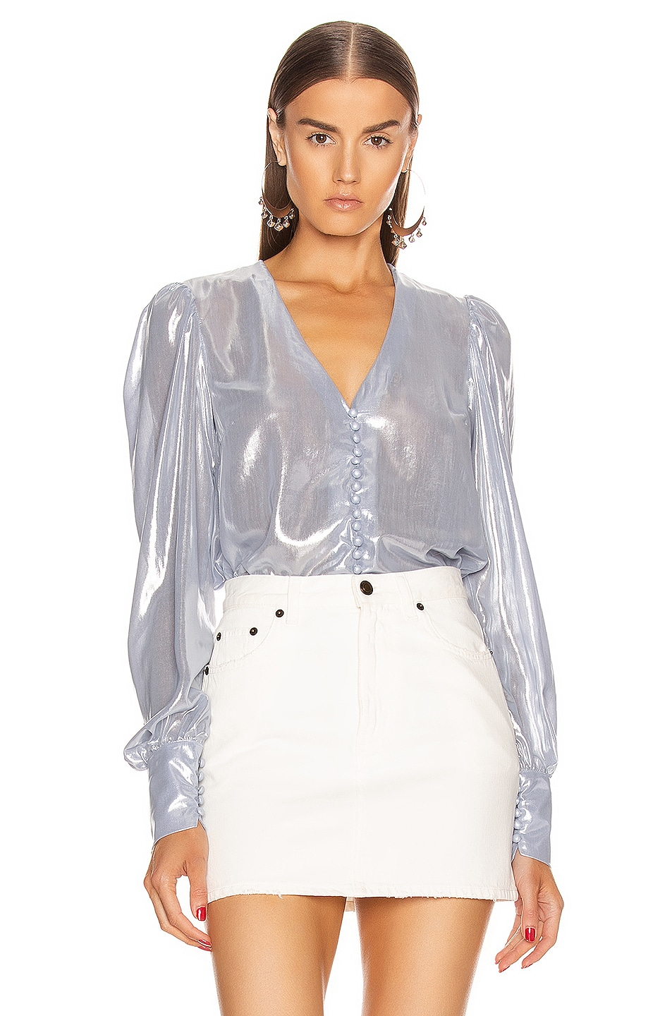 Image 1 of ANDAMANE Cecilia Shirt in Ice Silver