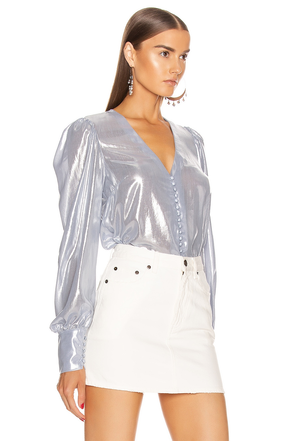 Image 2 of ANDAMANE Cecilia Shirt in Ice Silver