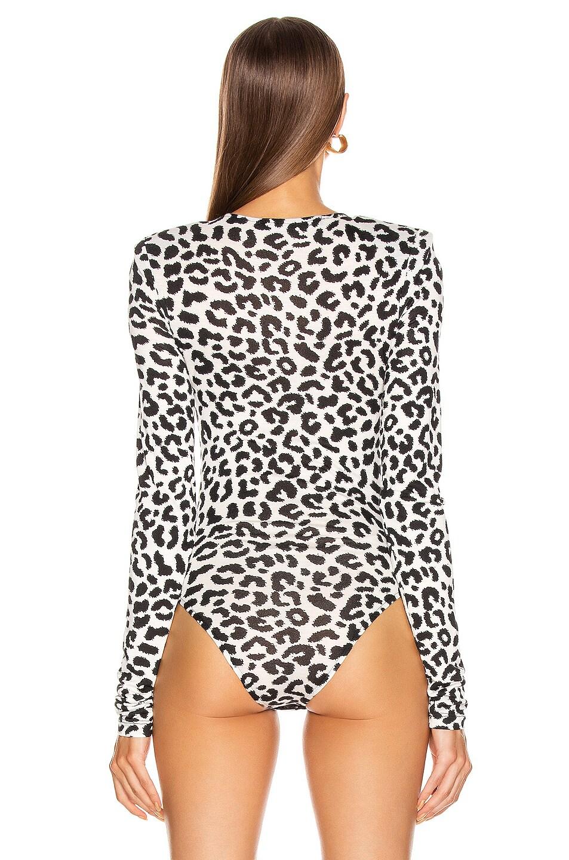 Image 4 of ANDAMANE Bea Bodysuit in White Leopard