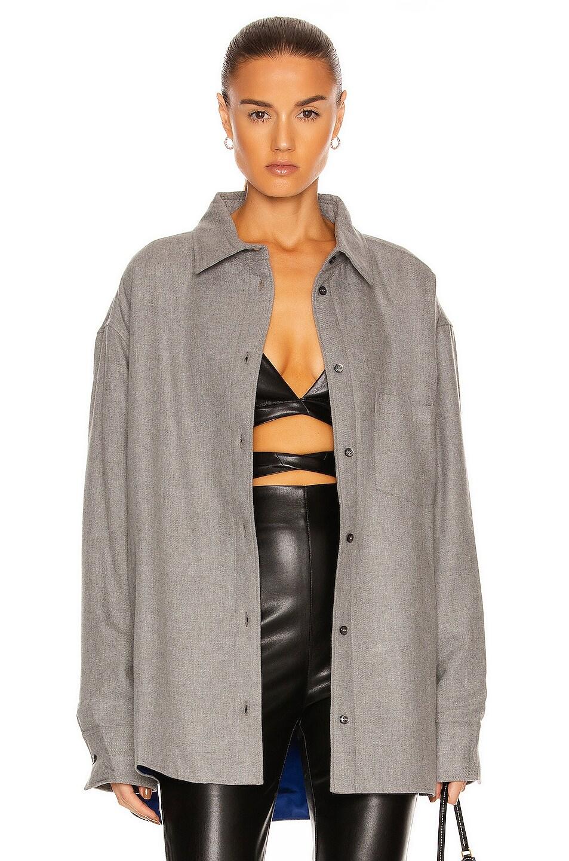 Image 1 of ANDAMANE Georgiana Oversized Padded Shirt in Medium Grey
