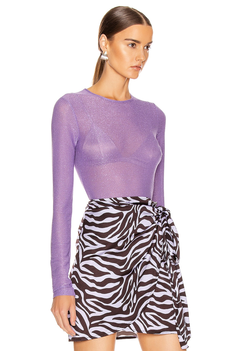 Image 2 of ANDAMANE Coco Crop Top in Lilac Multi