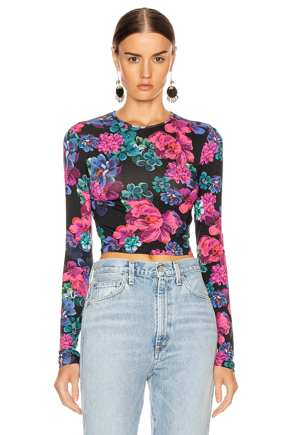 Image 1 of ANDAMANE Coco Crop Top in Floral Multi Black