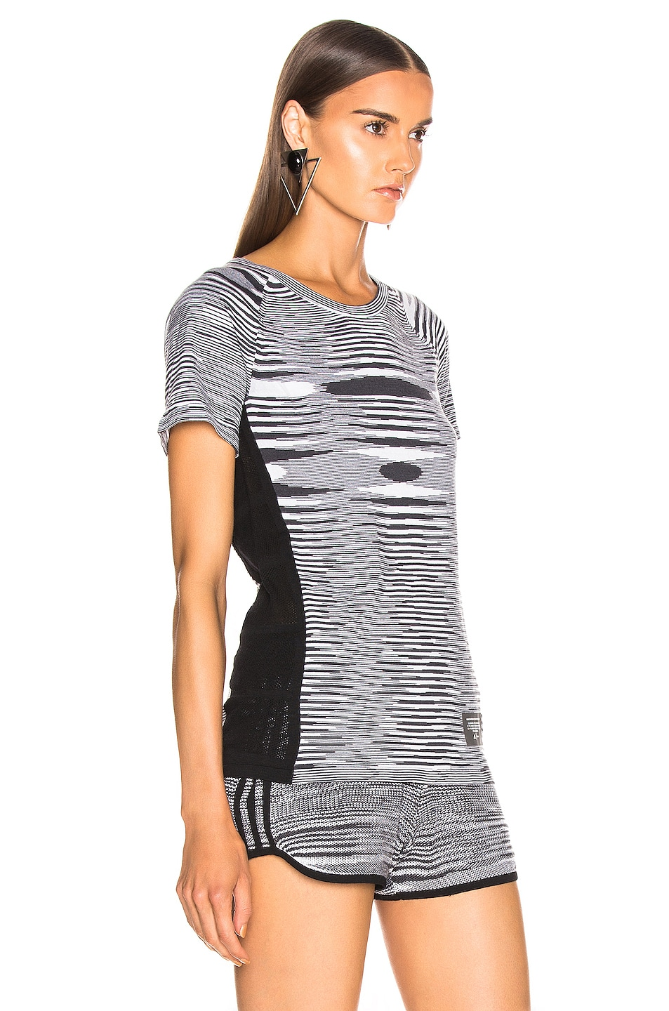 Image 2 of adidas by MISSONI Runners Unite Tee in Black & Grey & White